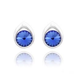 Clous d'Oreilles Goutte Rivoli 8MM en Argent et Cristal Bleu Saphir