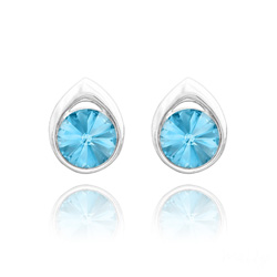 Clous d'Oreilles Goutte Rivoli 8MM en Argent et Cristal Bleu