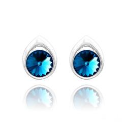 Clous d'Oreilles en Cristal et Argent Clous d'Oreilles Goutte Rivoli 8MM en Argent et Cristal Bleu Bermude