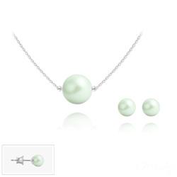 Parure en Cristal et Argent Parure 6mm/10mm en Argent et Perles de Cristal Nacré Pastel Green