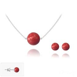 Parure en Cristal et Argent Parure 6mm/10mm en Argent et Perles de Cristal Nacré Red Coral