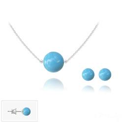 Parure en Cristal et Argent Parure 6mm/10mm en Argent et Perles de Cristal Nacré Turquoise