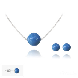 Parure en Cristal et Argent Parure 6mm/10mm en Argent et Perles de Cristal Nacré Lapis