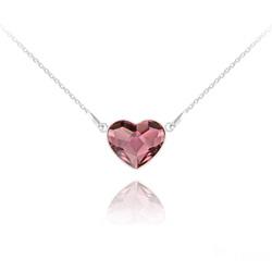 Collier Coeur 14MM en Argent et Cristal Antique Pink