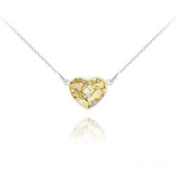 Collier Coeur 14MM en Argent et Cristal Gold Patina
