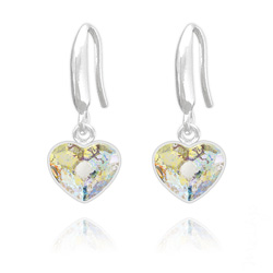 Boucles d'Oreilles Coeur 10mm en Argent et Cristal  White Patina