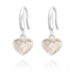 Boucles d'Oreilles Coeur 10mm en Argent et Cristal  Rose Patina
