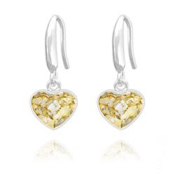 Boucles d'Oreilles Coeur 10mm en Argent et Cristal  Gold Patina