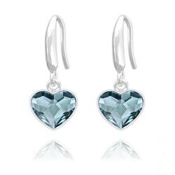 Boucles d'Oreilles Coeur 10mm en Argent et Cristal  Denim Blue