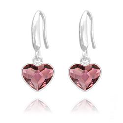 Boucles d'Oreilles Coeur 10mm en Argent et Cristal  Antique Pink