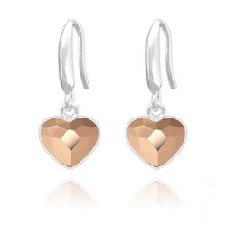 Boucles d'Oreilles Coeur 10mm en Argent et Cristal  Rose Gold