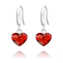 Boucles d'Oreilles Coeur 10mm en Argent et Cristal  Rouge Light Siam