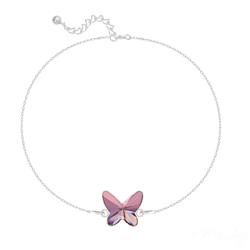 Bracelet en Cristal et Argent Bracelet Papillon en Argent et Cristal Antique Pink