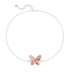 Bracelet en Cristal et Argent Bracelet Papillon en Argent et Cristal Rose Peach