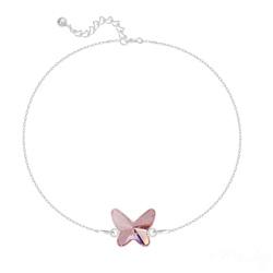 Bracelet en Cristal et Argent Bracelet Papillon en Argent et Cristal Light Rose