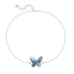 Bracelet en Cristal et Argent Bracelet Papillon en Argent et Cristal Denim Blue