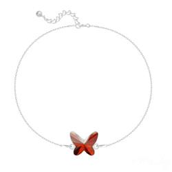 Bracelet Papillon en Argent et Cristal Red Magma