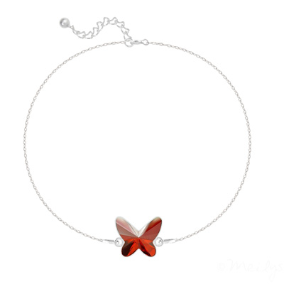 Bracelet en Cristal et Argent Bracelet Papillon en Argent et Cristal Red Magma