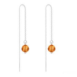 Boucles d'Oreilles en Cristal et Argent Chaînes d'Oreilles Ronde à Facette 6mm en Argent et Cristal Tangerine