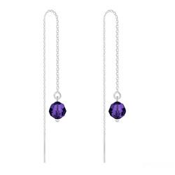 Chaînes d'Oreilles Ronde à Facette 6mm en Argent et Cristal Purple Velvet