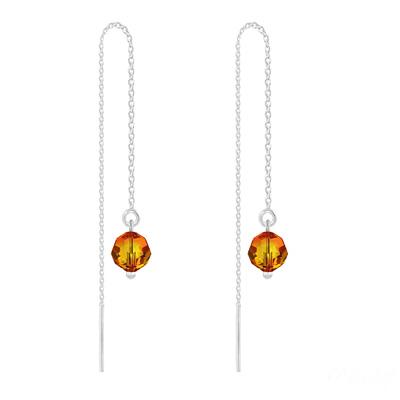Boucles d'Oreilles en Cristal et Argent Chaînes d'Oreilles Ronde à Facette 6mm en Argent et Cristal Fire Opal