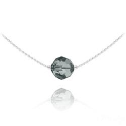 Collier Ras de Cou Ronde à Facette 10mm en Argent et Cristal Black Diamond