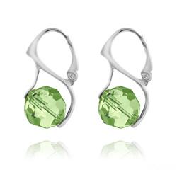 Boucles d'Oreilles Ronde à Facette 10mm en Argent et Cristal Vert Péridot