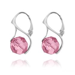 Boucles d'Oreilles Ronde à Facette 10mm en Argent et Cristal Light Rose