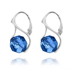 Boucles d'Oreilles en Cristal et Argent Boucles d'Oreilles Ronde à Facette 10mm en Argent et Cristal Capri Blue