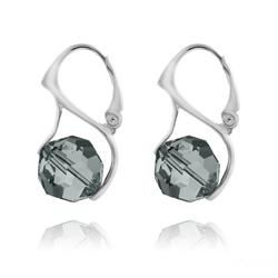 Boucles d'Oreilles Ronde à Facette 10mm en Argent et Cristal Black Diamond