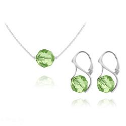 Parure en Cristal et Argent Parure Ronde à Facette 10mm en Argent et Cristal Vert Péridot
