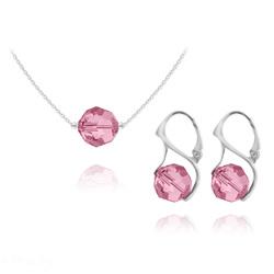 Parure en Cristal et Argent Parure Ronde à Facette 10mm en Argent et Cristal Light Rose