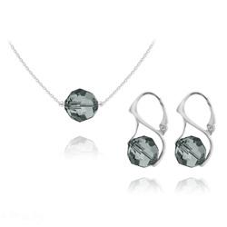 Parure en Cristal et Argent Parure Ronde à Facette 10mm en Argent et Cristal Black Diamond