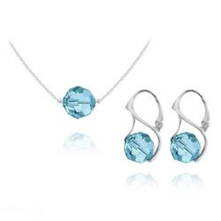 Parure en Cristal et Argent Parure Ronde à Facette 10mm en Argent et Cristal Bleu