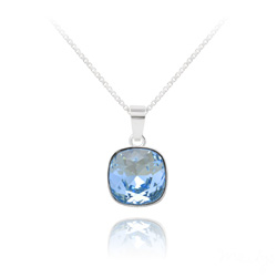 Collier Cushion Cut 10mm en Argent et Cristal Bleu