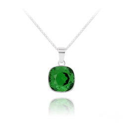 Collier Cushion Cut 10mm en Argent et Cristal Dark Moss Green