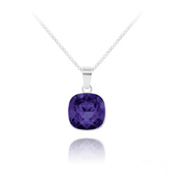 Collier Cushion Cut 10mm en Argent et Cristal Purple Velvet