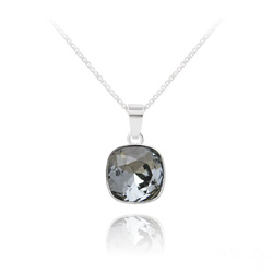 Collier Cushion Cut 10mm en Argent et Cristal Black Diamond