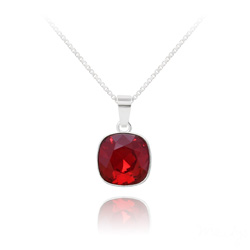 Collier Cushion Cut 10mm en Argent et Cristal Rouge Siam