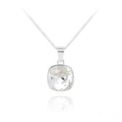 Collier Cushion Cut 10mm en Argent et Cristal Blanc