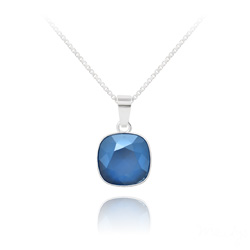 Collier Cushion Cut 10mm en Argent et Cristal Royal Blue