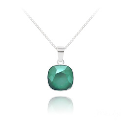 Collier Cushion Cut 10mm en Argent et Cristal Royal Green