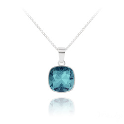 Collier Cushion Cut 10mm en Argent et Cristal Indicolite