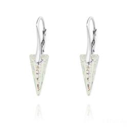 Boucles d'Oreilles Mini Spike en Argent et Cristal White Patina