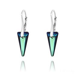Boucles d'Oreilles en Cristal et Argent Boucles d'Oreilles Mini Spike en Argent et Cristal Bleu Bermude