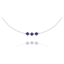 Collier 3 Rondes à Facettes en Argent et Cristal Purple Velvet