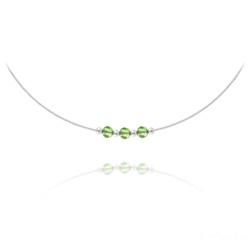 Collier 3 Rondes à Facettes en Argent et Cristal Vert Péridot