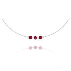Collier 3 Rondes à Facettes en Argent et Cristal Rouge Siam