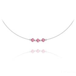 Collier 3 Rondes à Facettes en Argent et Cristal Light Rose