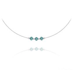 Collier 3 Rondes à Facettes en Argent et Cristal Bleu Zircon